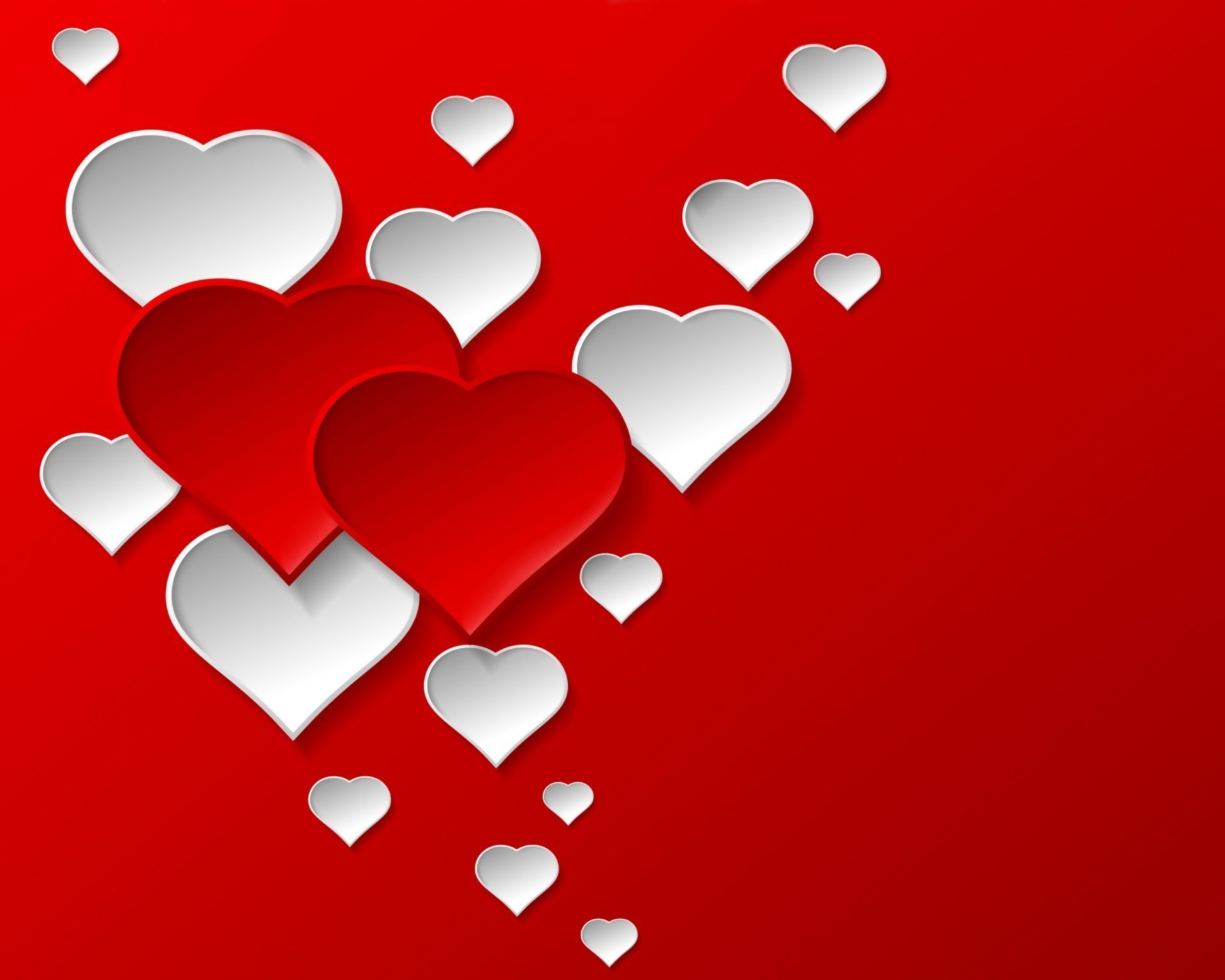 Red And White Hearts Fondo De Pantalla Hd Fondo De