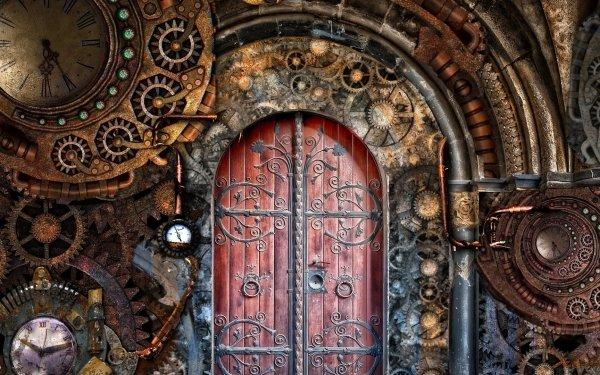 Sci Fi Steampunk Fantasy Door Arch HD Wallpaper   Background Image