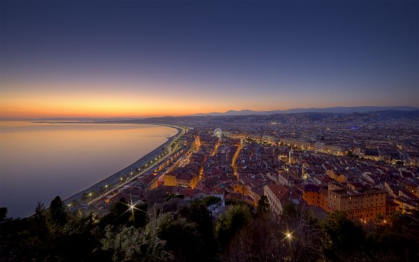 Man Made Nice Cities France City Coast Night Dusk Light Twilight HD Wallpaper | Background Image