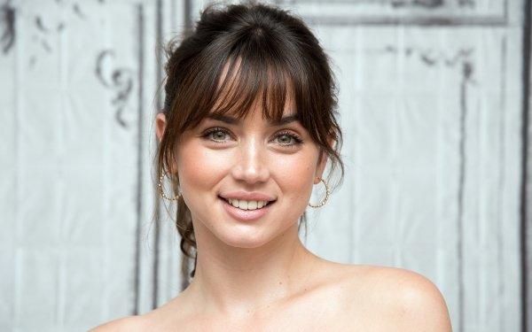Celebrity Ana de Armas Actresses Cuban Actress Earrings Smile Black Hair Face HD Wallpaper | Background Image
