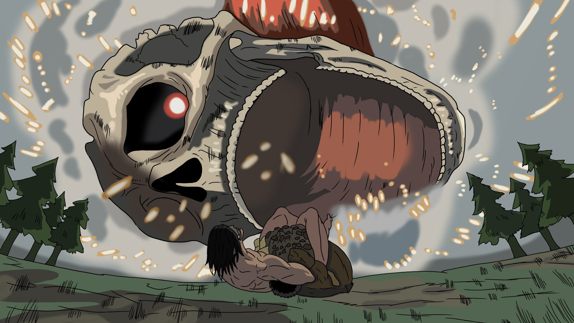 Eren Vs Armored Titan Hd Wallpaper Background Image 1920x1080 Id 1015873 Wallpaper Abyss