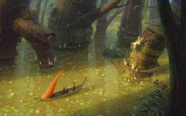 Fantasy City Boat Carrot Rabbit Lake HD Wallpaper   Background Image