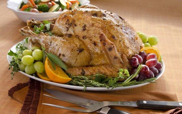 Food Chicken Grapes Fruit Knife Roast HD Wallpaper | Background Image