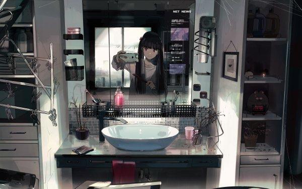 Anime Original Long Hair Black Hair Twintails Smartphone Selfie Bathroom HD Wallpaper | Background Image