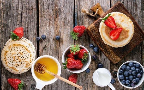 Food Still Life Berry Breakfast Honey Crêpe Fruit Strawberry Blueberry HD Wallpaper | Background Image