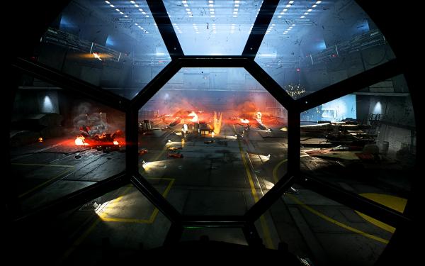 Video Game Star Wars Battlefront II (2017) Star Wars TIE Fighter Hangar Cockpit HD Wallpaper | Background Image