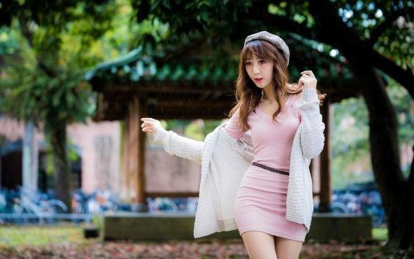 Women Asian Model Woman Pink Dress Hat Brunette Depth Of Field HD Wallpaper | Background Image
