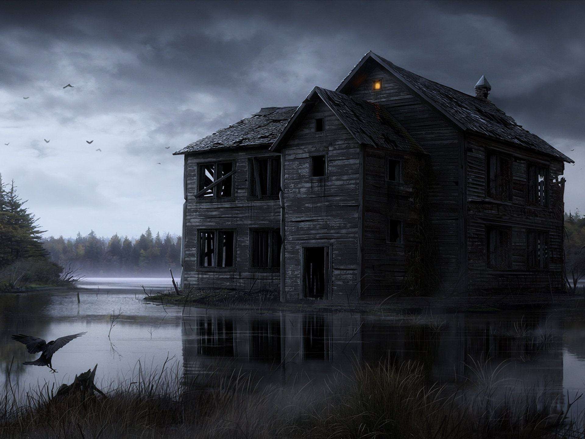 Haunted House HD Wallpaper | Background Image | 1920x1440