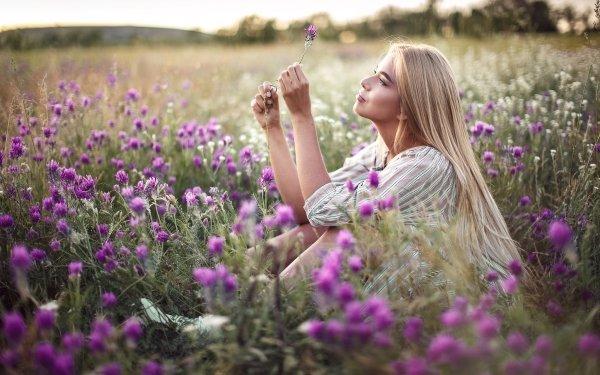 Women Model Models Summer Flower Blonde Long Hair Purple Hair Mood HD Wallpaper | Background Image