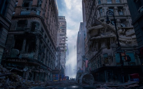 Sci Fi Post Apocalyptic City Street Building HD Wallpaper | Background Image