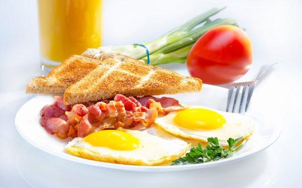 Food Breakfast Bacon Egg Bread HD Wallpaper   Background Image