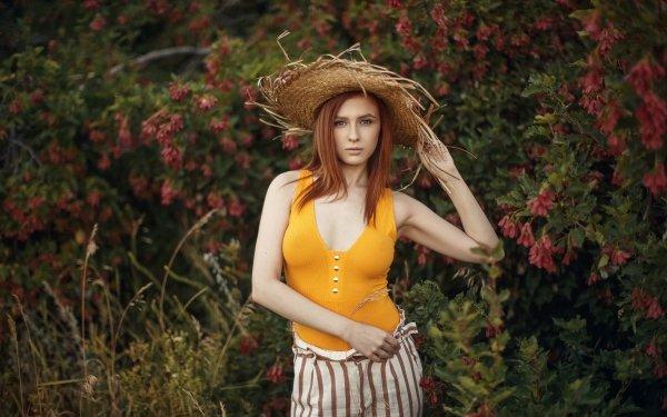 Women Model Models Redhead Hat HD Wallpaper | Background Image