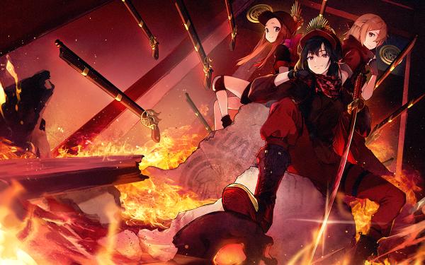 Anime Fate/Grand Order Fate Series Oda Nobunaga Fire Gun Chacha Okita Souji Sakura Saber Demon archer Sword Katana HD Wallpaper | Background Image