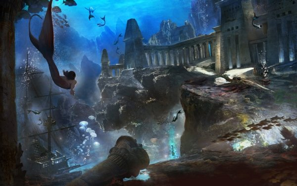 Fantasy Mermaid Ruin Underwater Wreck Merman HD Wallpaper | Background Image