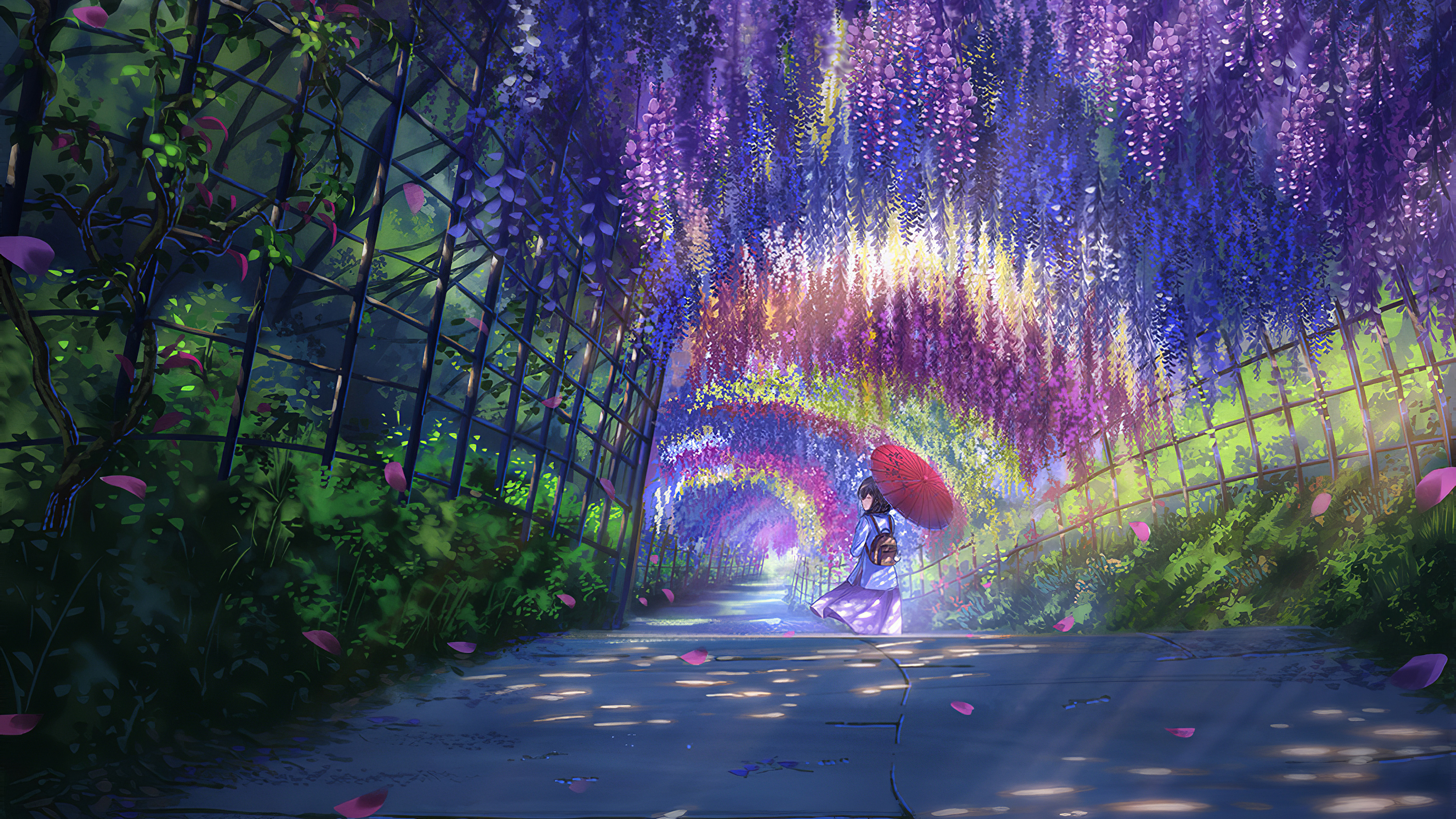 Anime Girl In Wisteria Garden Hd Wallpaper Background Image 3000x1687 Id 1046312 Wallpaper Abyss