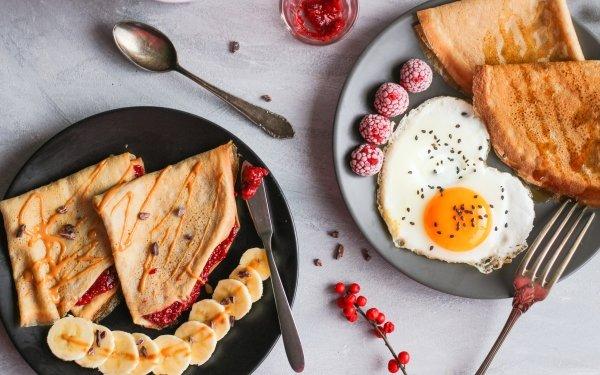 Food Breakfast Egg Crêpe Still Life HD Wallpaper | Background Image