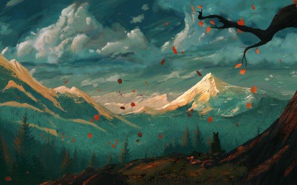 Fantasy Landscape Nature Mountain Wolf HD Wallpaper   Background Image