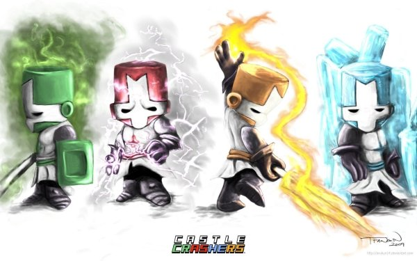 Video Game Castle Crashers Knight Red Knight Blue Knight Green Kinght Orange Knight HD Wallpaper | Background Image