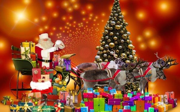 Holiday Christmas Santa Gift Christmas Tree Reindeer Sled HD Wallpaper   Background Image