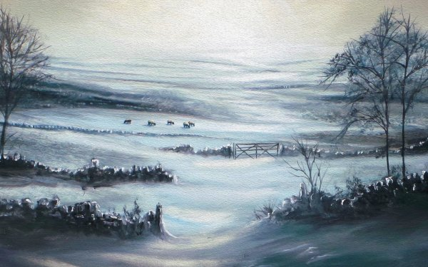 Artistic Winter Field Tree Sheep HD Wallpaper   Background Image