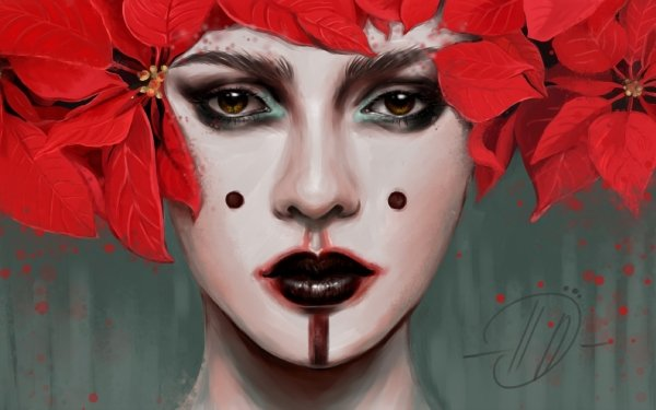 Women Artistic Makeup Poinsettia HD Wallpaper   Background Image