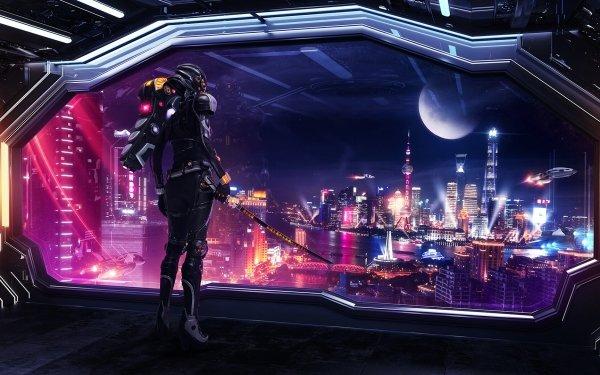 Sci Fi Cyberpunk China Shanghai City Moon Sword Futuristic HD Wallpaper | Background Image