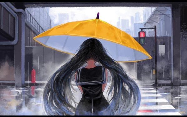 Anime Original Paraguas Street Light Fondo de pantalla HD | Fondo de Escritorio