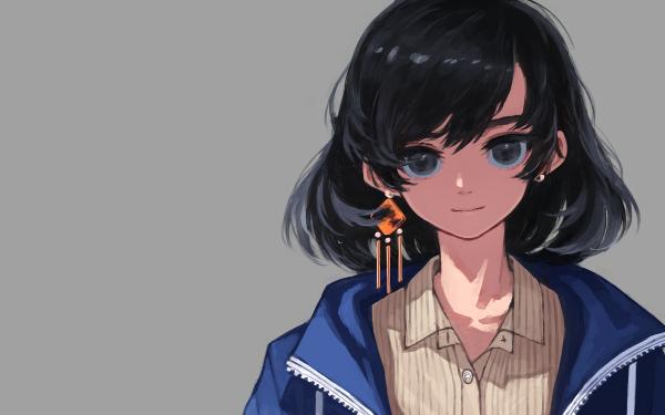 Anime Original Black Hair Black Eyes Fondo de pantalla HD   Fondo de Escritorio