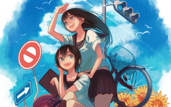 Anime Original Street Light Bike Fondo de pantalla HD | Fondo de Escritorio