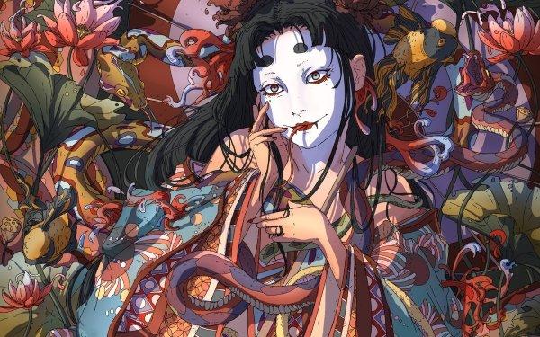 Fantasy Geisha Flower Snake Asian Black Hair Makeup HD Wallpaper | Background Image