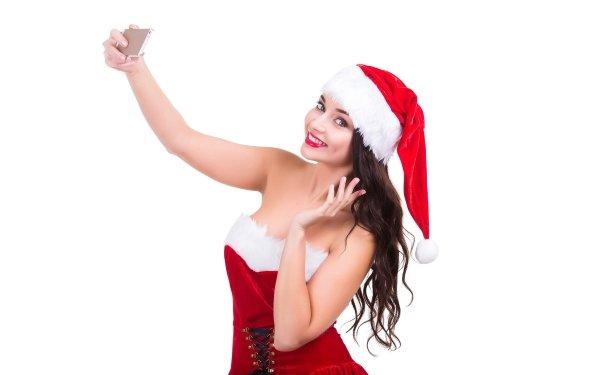 Women Model Models Woman Christmas Brunette Smile Selfie Girl Santa Hat Lipstick Long Hair HD Wallpaper | Background Image
