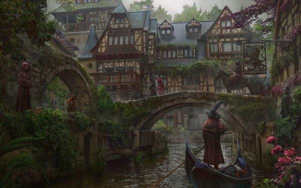 Fantasy City River Hood Canal Gondola HD Wallpaper | Background Image