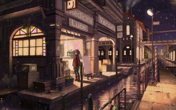 Anime Original Shop Water City Snowfall HD Wallpaper   Background Image