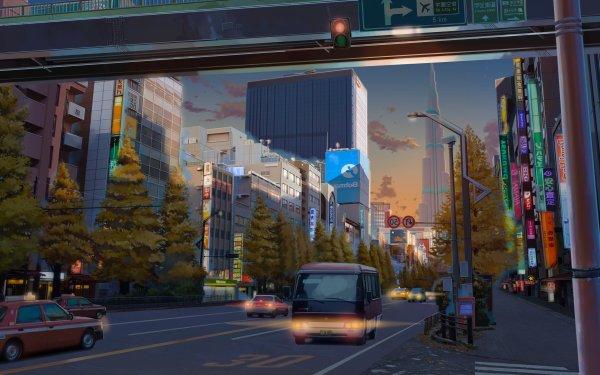 Anime Original City Vehicle HD Wallpaper   Background Image