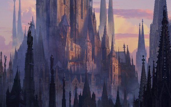 Fantasy City Cathedral Architecture HD Wallpaper | Background Image