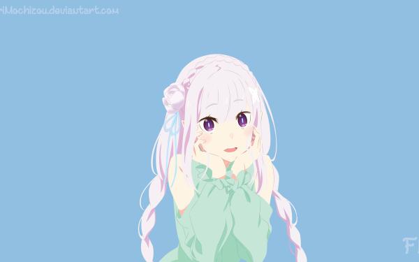 Anime Re:ZERO -Starting Life in Another World- Emilia Purple Eyes White Hair Braid Long Hair HD Wallpaper | Background Image