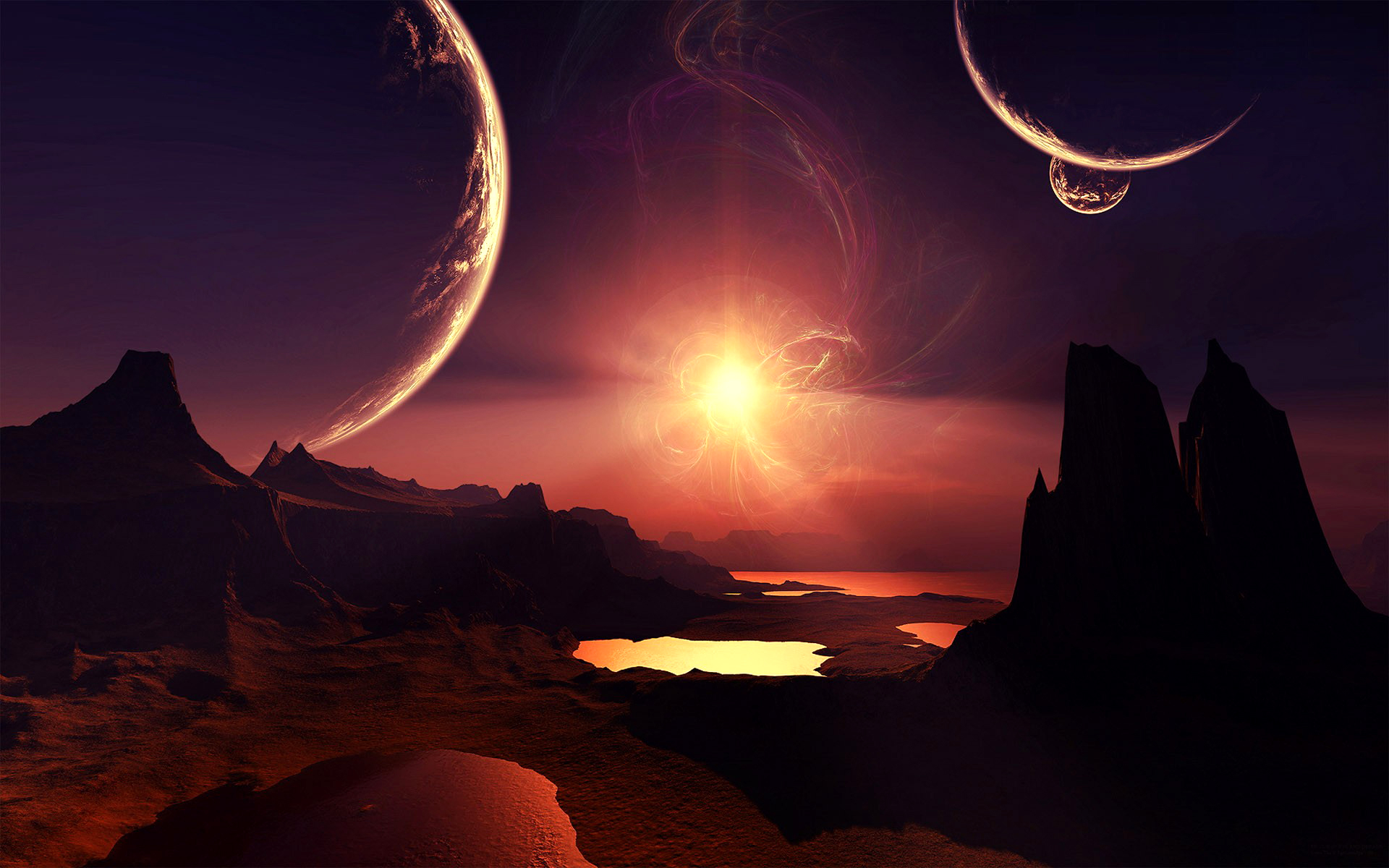 Science-Fiction - Landschaft  Engel Wallpaper