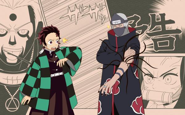 Anime Crossover Naruto Demon Slayer: Kimetsu no Yaiba Hidan Kakuzu Tanjiro Kamado Nezuko Kamado HD Wallpaper   Background Image