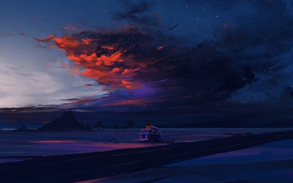 Artistic Landscape Road Sky Desert Nature Night Cloud Van HD Wallpaper | Background Image