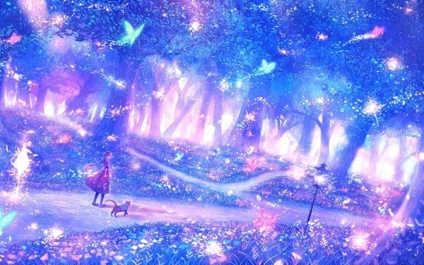 Anime Original Path Forest Cat Walking Butterfly Fantasy Flower Light HD Wallpaper   Background Image