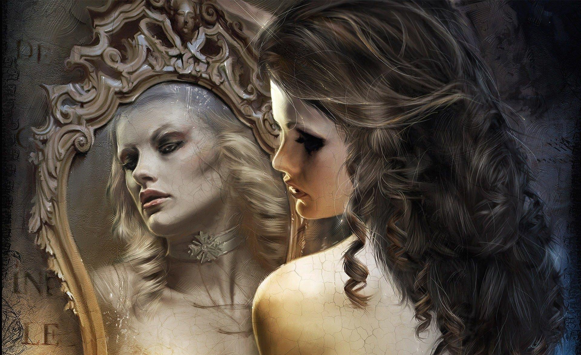 Fantasy - Women  Beautiful Girl Fantasy Mirror Wallpaper