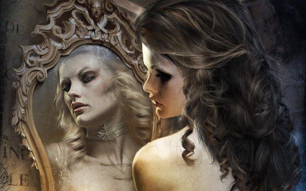 Fantasy Women Mirror HD Wallpaper | Background Image