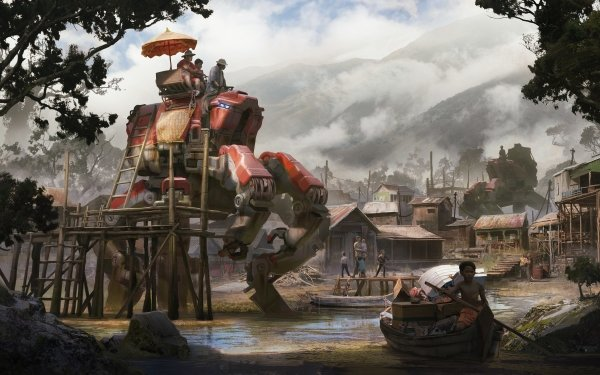 Sci Fi Mech Village HD Wallpaper | Background Image