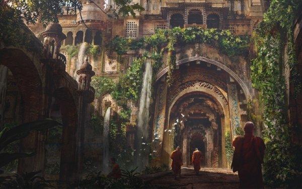 Fantasy Temple Arch Architecture Monk HD Wallpaper | Background Image
