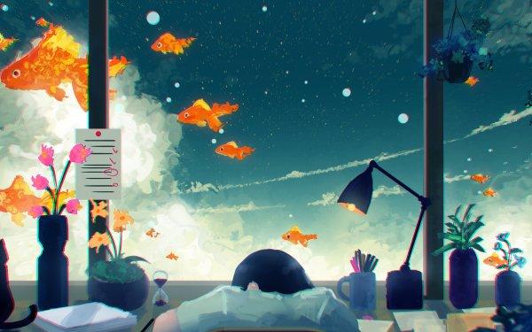 Anime Urbild Window Katt Lamp Goldfish Himmel Cloud HD Wallpaper | Background Image