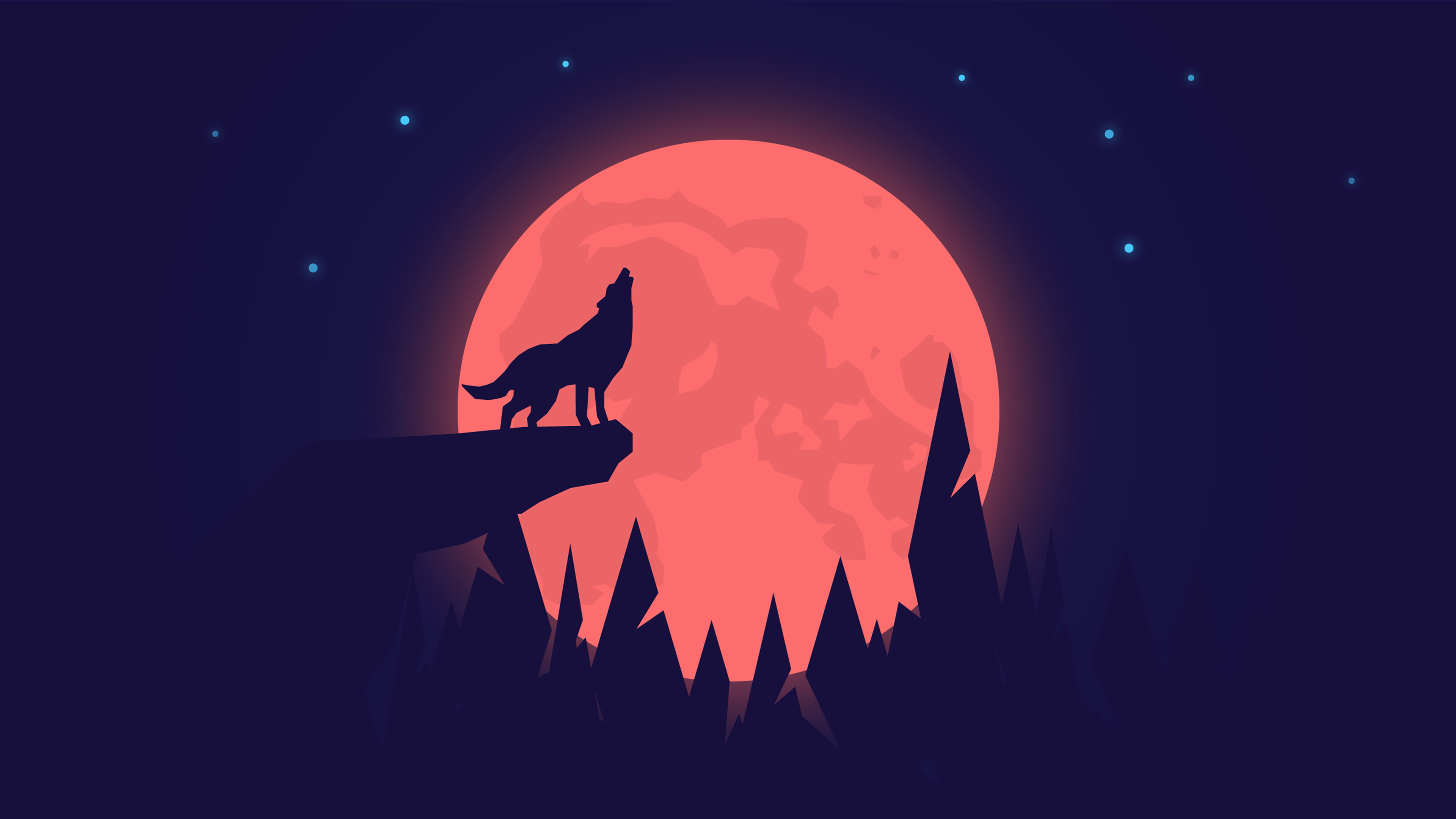 Wolf Howling On Full Moon Night 4k Ultra Hd Wallpaper Background Image 3840x2160 Id 1080149 Wallpaper Abyss