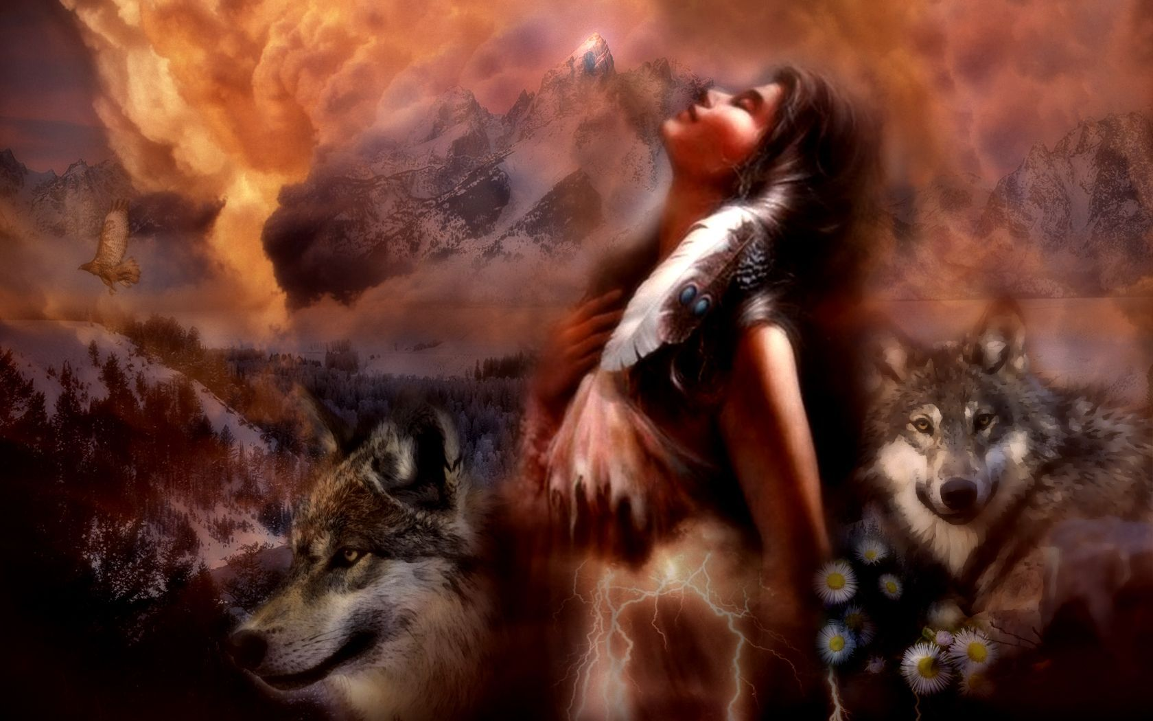 Artistico - Donne  - Spirit - Dreams - Fire - Hawk - Wolves - Native American - Maiden - Entropy - Sfondi - Wolf - Aquila Sfondi