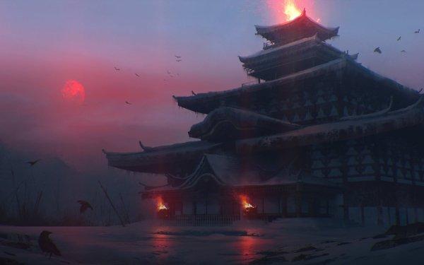 Fantasy Temple Winter Japan HD Wallpaper | Background Image