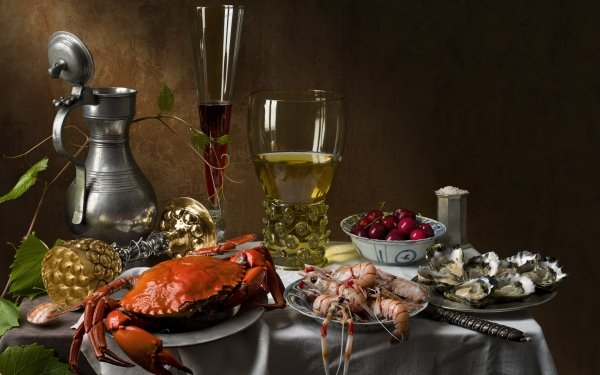Food Still Life Cherry Wine Glass Crab Shrimp Oyster HD Wallpaper | Background Image