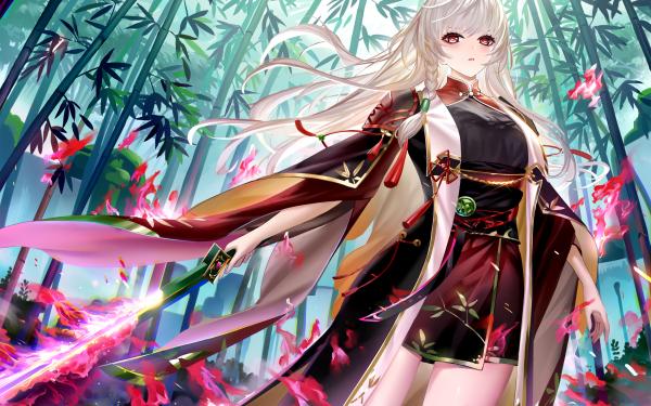 Anime Original Bamboo Sword Kimono White Hair Long Hair Red Eyes Woman Warrior HD Wallpaper   Background Image